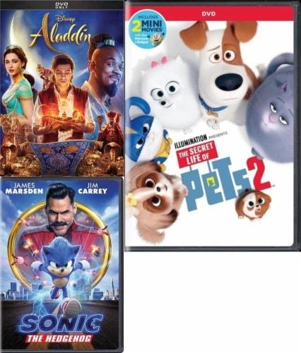 Aladdin/ Sonic the Hedgehog/ Secret Life of Pets 2 Kids 3-Pack (DVD) Perspective: front