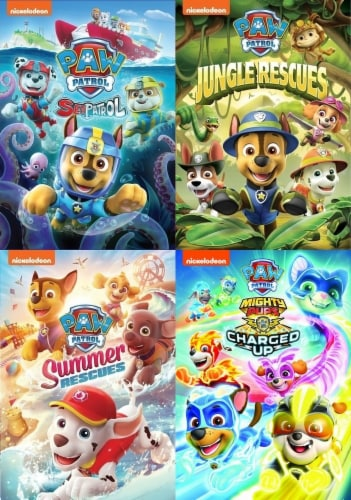 Paw Patrol: Sea Patrol/ Summer Rescues/ Jungle Rescues/ Mighty Pups Kids 4-Pack (DVD) Perspective: front