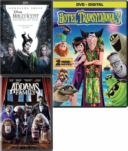 Maleficent: Mistress of Evil/ Addams Family/ Hotel Transylvania 3 Kids 3-Pack (DVD) Perspective: front