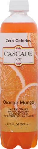 Cascade Ice Sparkling Orange Mango Water Perspective: front