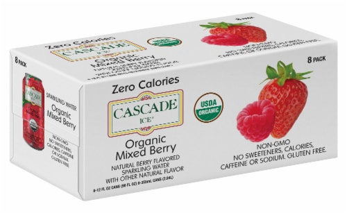 Cascade Ice Organic Mixed Berry Sparkling Water Perspective: front