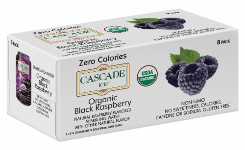 Cascade Ice Organic Black Raspberry Sparkling Water Perspective: front