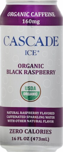 Cascade Ice Organic Black Raspberry Caffeinated Sparkling Water Perspective: front