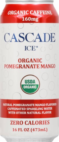 Cascade Ice Organic Pomegranate Mango Caffeinated Sparkling Water Perspective: front