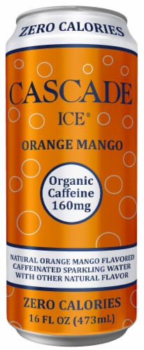 Cascade Ice Organic Orange Mango Caffeinated Sparkling Water Perspective: front