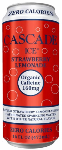 Cascade Ice Organic Strawberry Lemonade Caffeinated Sparkling Water Perspective: front