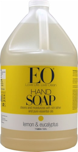EO Essential Oil Products Liquid Hand Soap Lemon and Eucalyptus Perspective: front