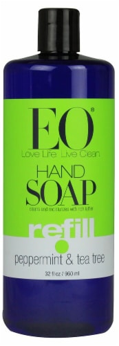 EO Essential Oil Products Liquid Hand Soap Refill Peppermint and Tea Tree Perspective: front