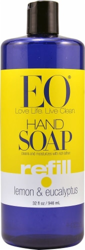EO Essential Oil Products Liquid Hand Soap Refill Lemon & Eucalyptus Perspective: front