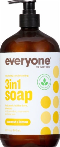 Everyone Coconut + Lemon 3 in 1 Shampoo Body Wash & Bubble Bath Perspective: front