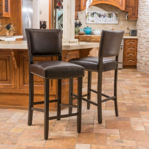 William 31-Inch Bonded Leather Backed Barstool (Set of 2) Perspective: front