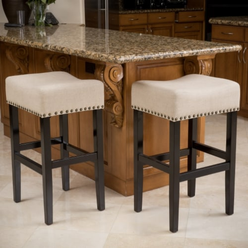 Chantal 30-Inch Beige Linen Fabric Bar Stools (Set of 2) Perspective: front