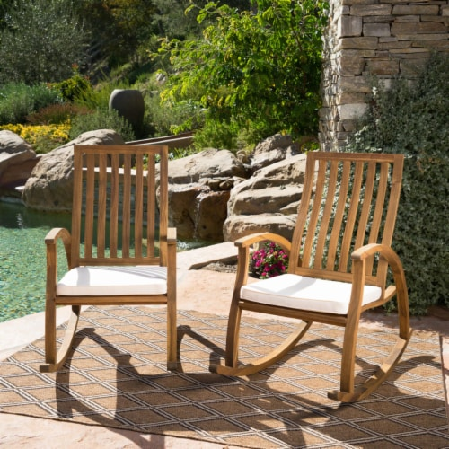 Cattan Outdoor Acacia Wood Rocking Chair with Water Resistant Cushions - Set of 2 Perspective: front