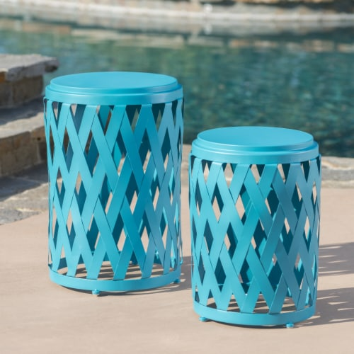 Ellen Nestable Outdoor Small and Large Iron Side Table Set (Set of 2) Perspective: front