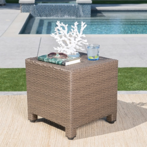 Venice Outdoor Light Brown Wicker Side Table Perspective: front