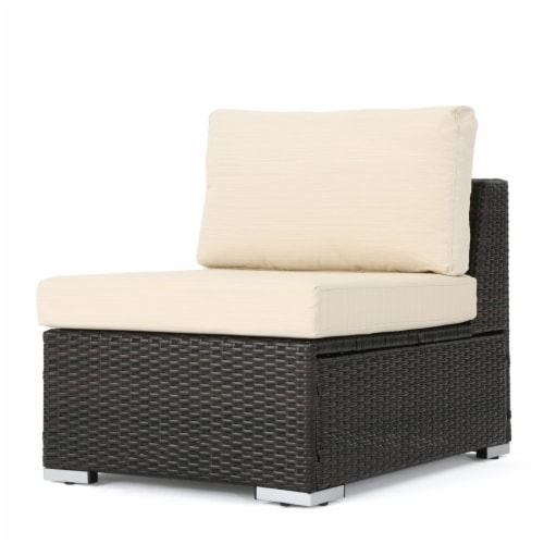 Francisco Outdoor Wicker Sectional Sofa Seat w/ Cushions Perspective: front