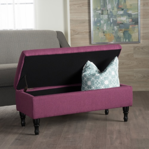 Constance Tufted Top Fabric Storage Ottoman Perspective: front