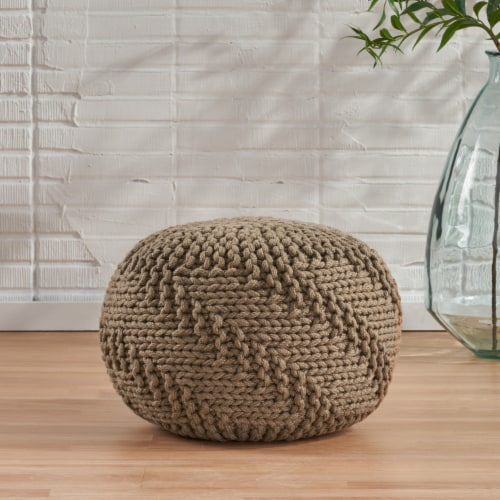 Haley Indoor Handcrafted Modern Fabric Weave Pouf Perspective: front