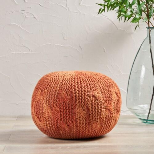 Dahlia Indoor/ Outdoor Aqua Fabric Hand Knit Pouf Perspective: front