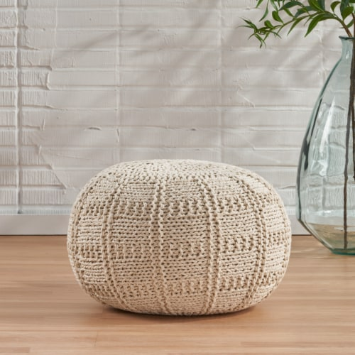Valentine Intricate Hand Knit Fabric Pouf Perspective: front
