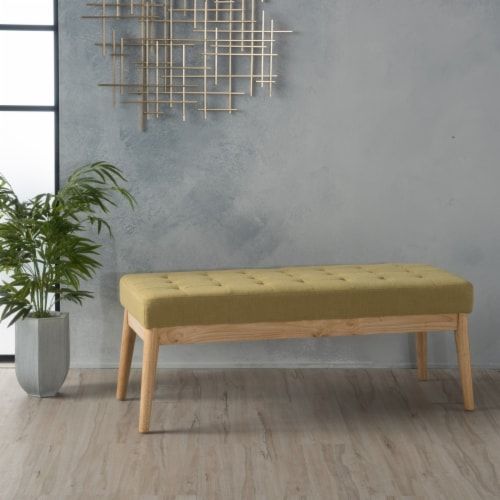 Anglo Modern Mid-Century Fabric Bench Perspective: front