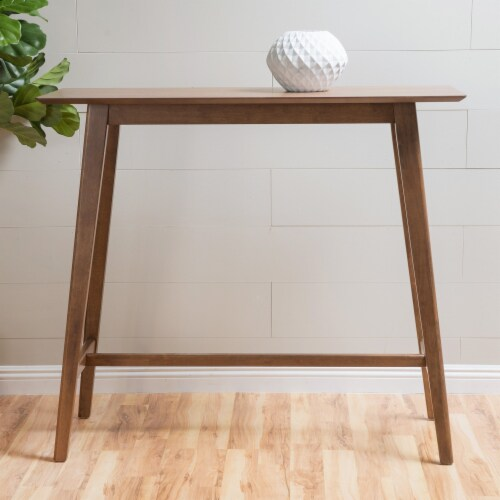 Margaret Natural Walnut Finish Wood Bar Table Perspective: front