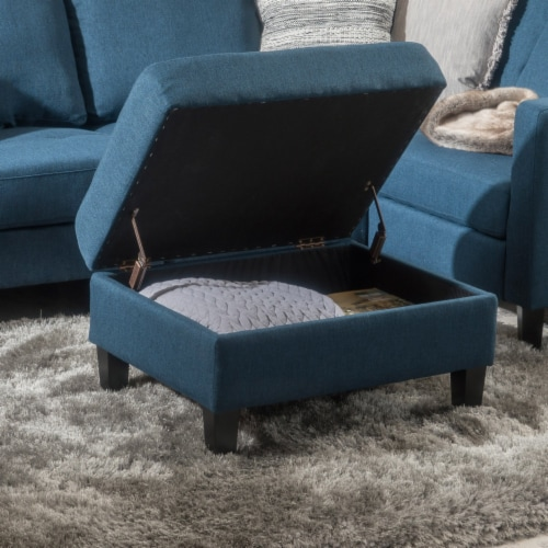 Carolina Tufted Cover Fabric Storage Ottoman Perspective: front