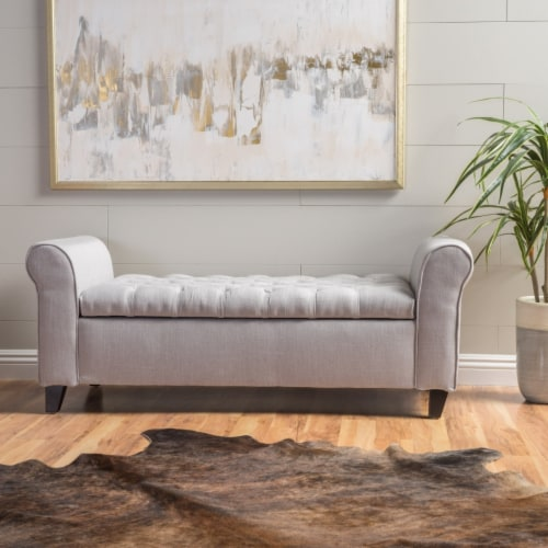 Lamara Modern Armed Storage Bench Perspective: front