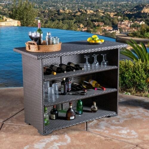 Germar Contemporary Outdoor Dark Brown Polyethylene Bar Perspective: front