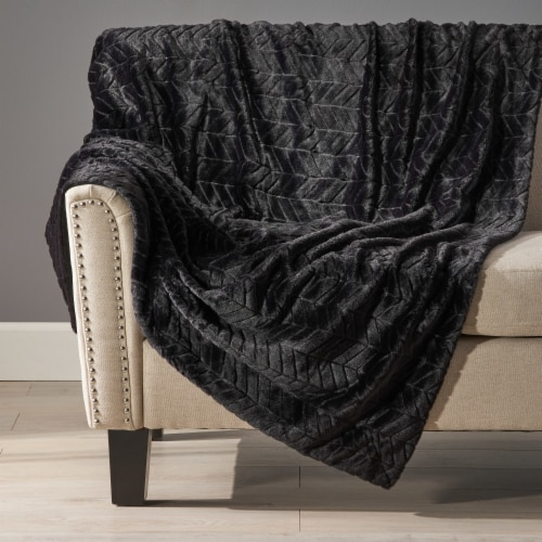 Tuscan Black Faux Fur Throw Blanket Perspective: front