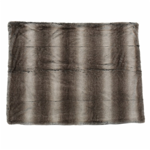 Tuscan Ash White Faux Fur  Throw Blanket Perspective: front