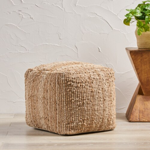 Beso Beige Wool Fabric Artisan Cube Pouf Perspective: front