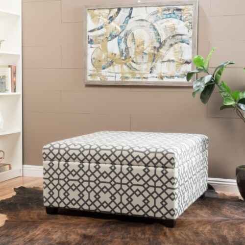 Estee Grey Geometric Patterned Fabric Storage Ottoman Perspective: front