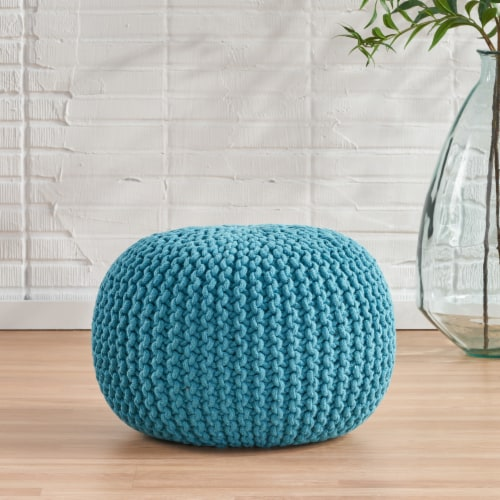 Poona Hand Knitted Artisan Pouf Ottomans Perspective: front