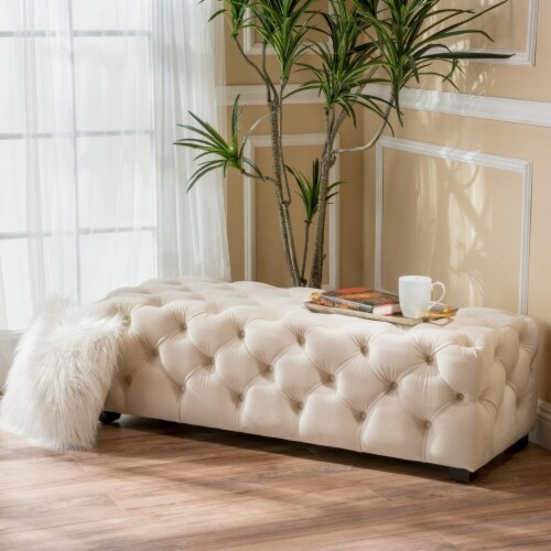 Provence Tufted Velvet Fabric Rectangle Ottoman Bench Perspective: front