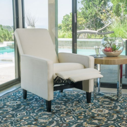 Olinda Contemporary Beige Fabric Recliner Chair Perspective: front