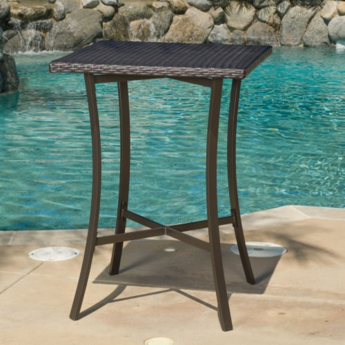 Cait 40-Inch Brown Outdoor Wicker Bar Table Perspective: front