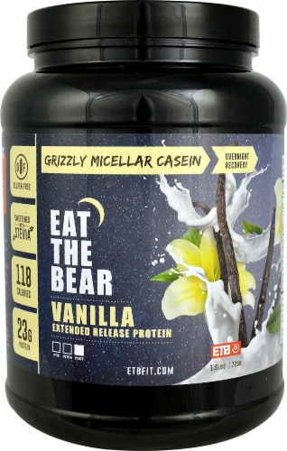 Eat The Bear  Grizzly Micellar Casein   Vanilla Perspective: front
