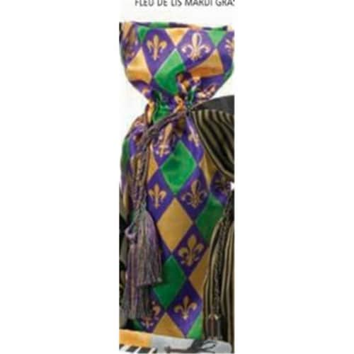 Joann Marie Designs Printed Wine Bag - Fleur De Lis - Mardi Gras - Pack of 12 Perspective: front