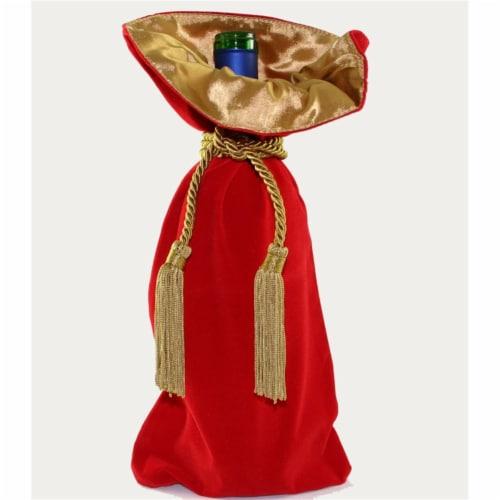 Joann Marie Designs Velveteen Wine Bag - Red Pack of 12 Perspective: front