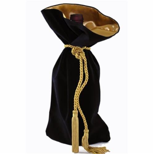 Joann Marie Designs Velveteen Wine Bag - Black Pack of 12 Perspective: front