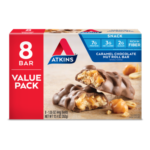 Atkins Caramel Chocolate Nut Roll Value Pack Perspective: front