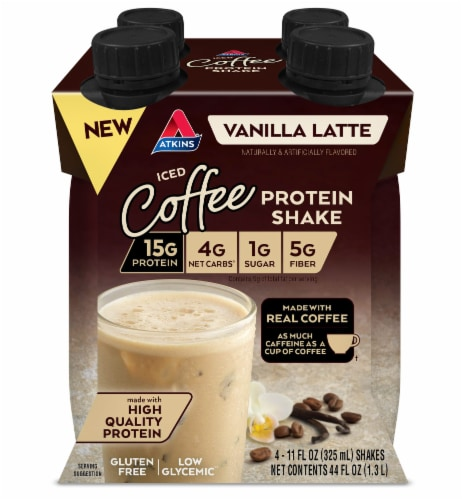 Atkins Iced Coffee Vanilla Latte Protein Shake Perspective: front