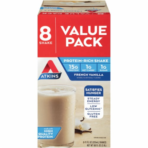Atkins French Vanilla Protein Shake Value Pack Perspective: front