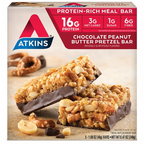 Atkins Advantage Protein-Rich Chocolate Peanut Butter Pretzel Meal Bars 5 Count Perspective: front