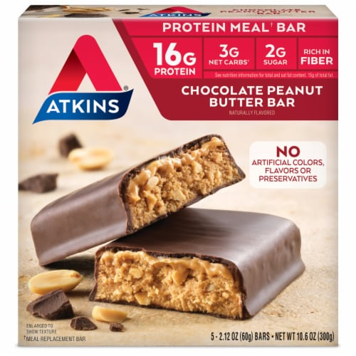 Atkins Chocolate Peanut Butter Bars 5 Count Perspective: front