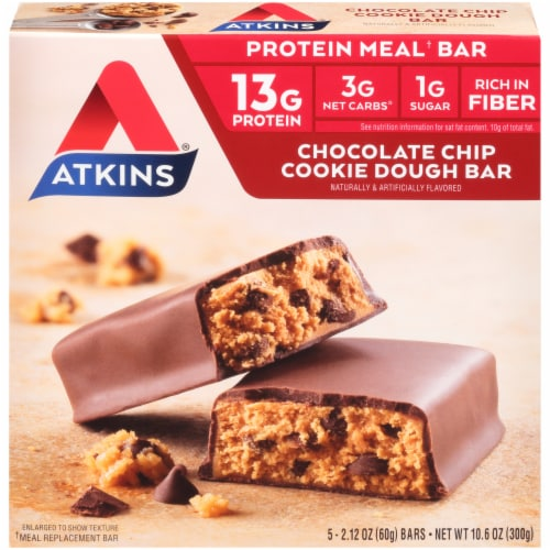 Atkins Advantage Protein-Rich Chocolate Chip Cookie Dough Meal Bars 5 Count Perspective: front