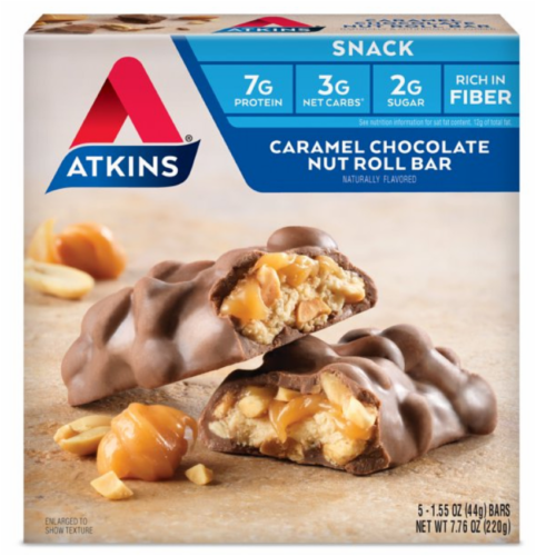 Atkins Caramel Chocolate Nut Roll Bars 5 Count Perspective: front