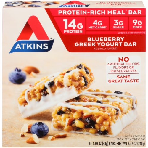 Atkins Protein-Rich Blueberry Greek Yogurt Meal Bars 5 Count Perspective: front