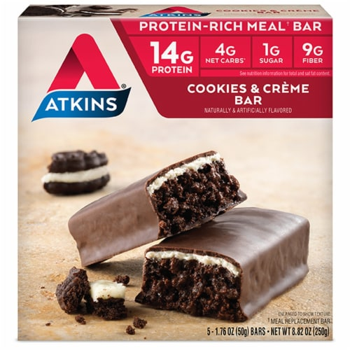 Atkins Cookies & Cream Protein-Rich Meal Bars 5 Count Perspective: front